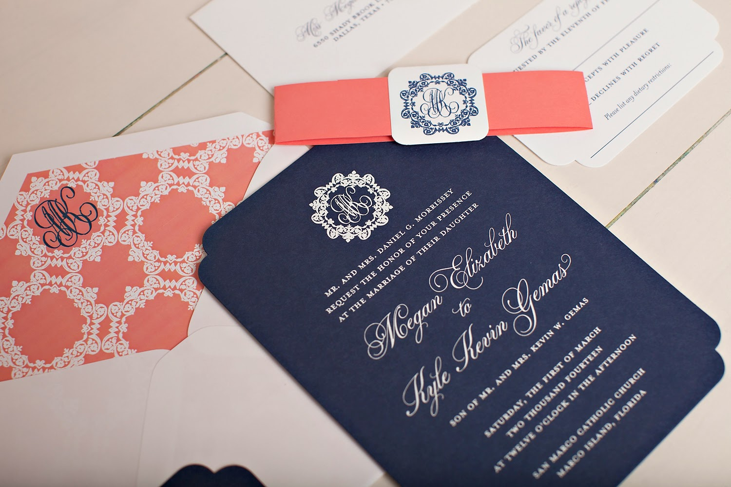 Monogrammed Wedding Invitations