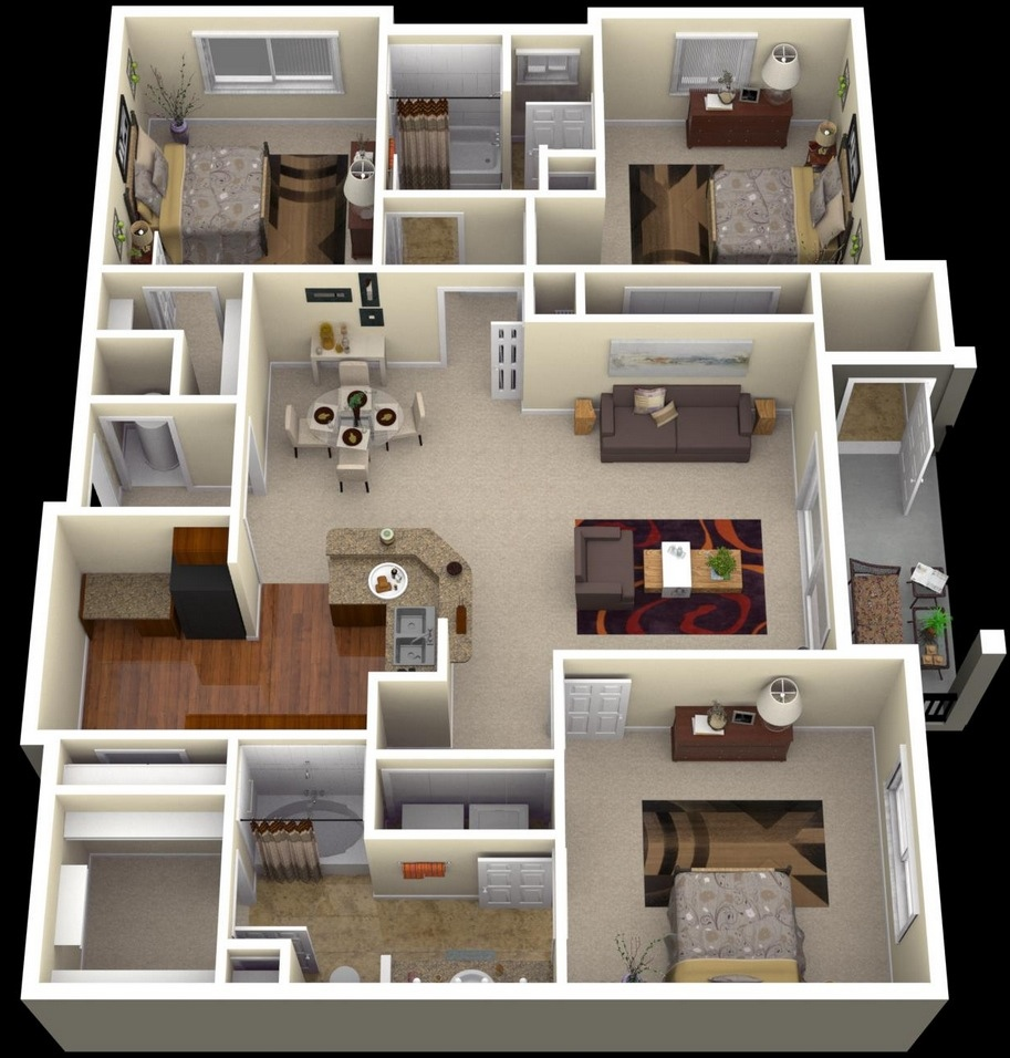 3d House Plans Three Badroom 02