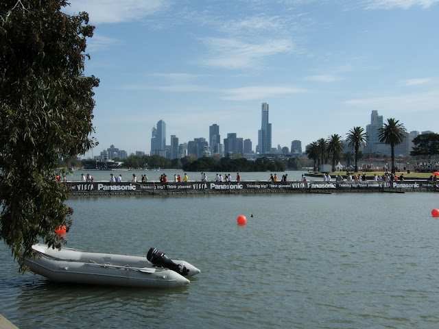 Albert Park lake Melbourne, with view of the city skyline, during the Grand Prix