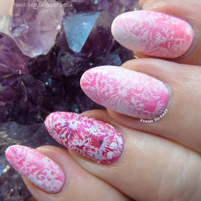 Pink lace stamping nail art