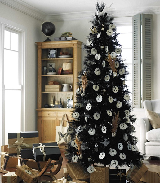 black grand piano is the focal furniture and black christmas tree fits in perfectly the garland wreath and tree in black is chic and purple adds just the - Simple But Elegant Christmas Tree Decorations