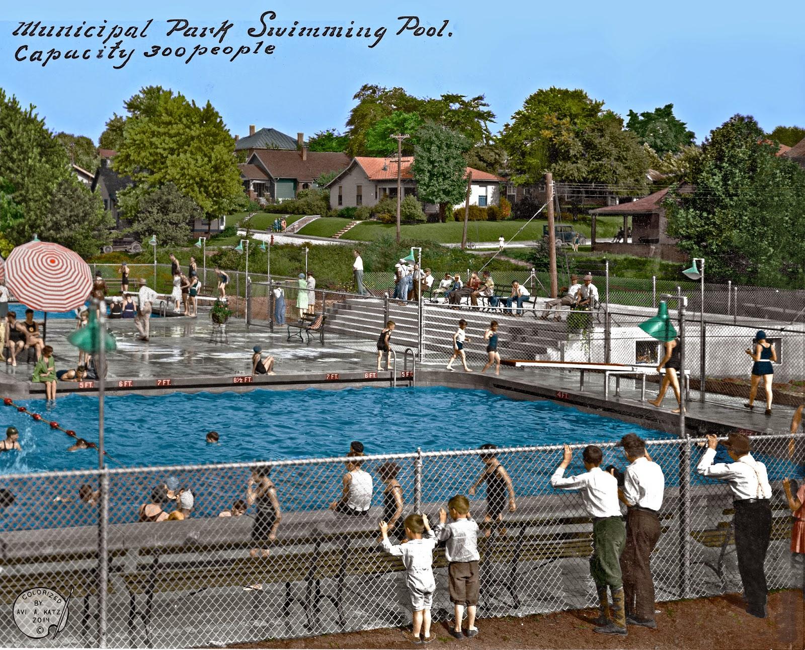 Colorizing History Municipal Park Swimming Pool Bloomington Indiana Circa Late 20 39 S