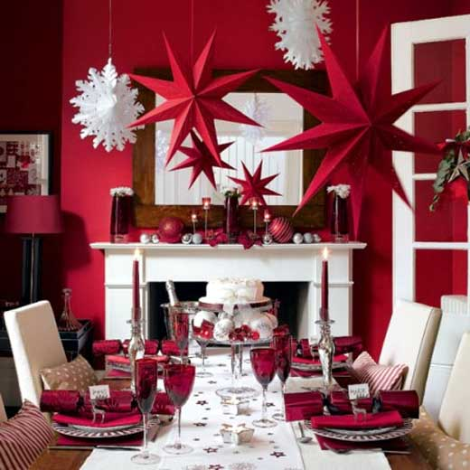 Red Dining Room Simple With Christmas Table Decoration Ideas Image