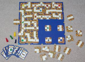 Labyrinth board game contents.