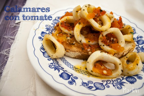 Receta de calamares con salsa de tomate