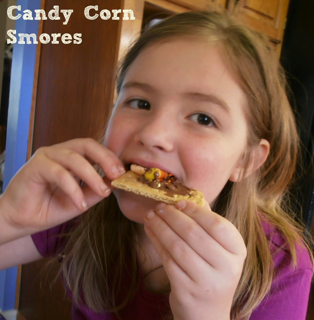 Make candy corn s'mores with candy corn marshmallows