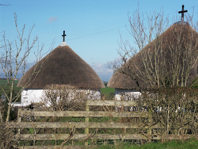 Veryan roundhouses from the back, Cornwall