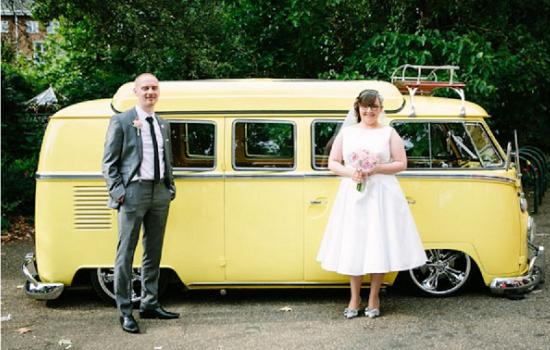 wedding getaway vehicle, wedding volkswagen van