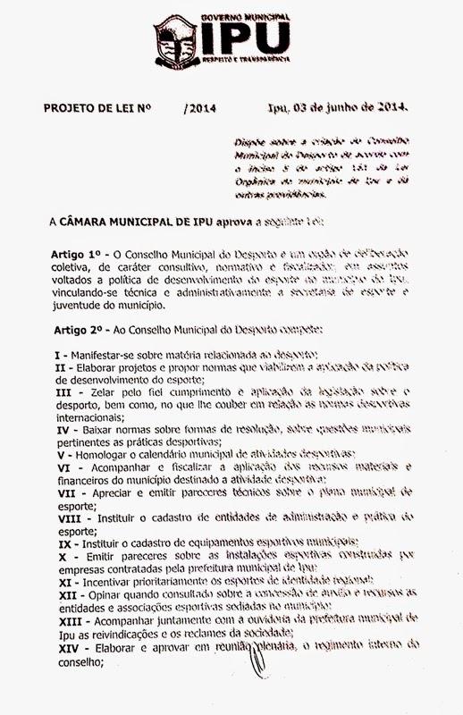 Câmara de Ipu aprova Projeto de Lei de criação do Conselho Municipal do Desporto
