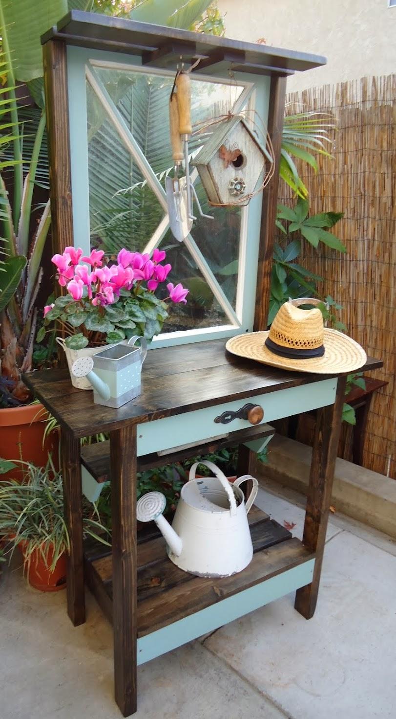 Criss-Cross Vintage Window Potting Table - SOLD