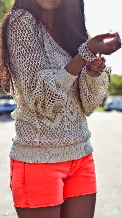 Crochet detail sweatshirt and orange mini short