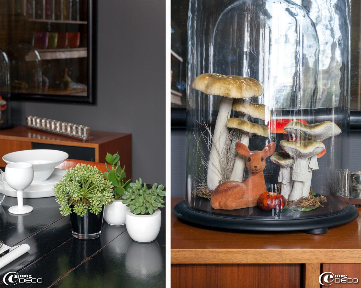 Vaisselle 'Fancy' dans la maison d'hôtes 'La Villa 1901', globe en verre renfermant une mise en scène composée d'un faon et de champignons