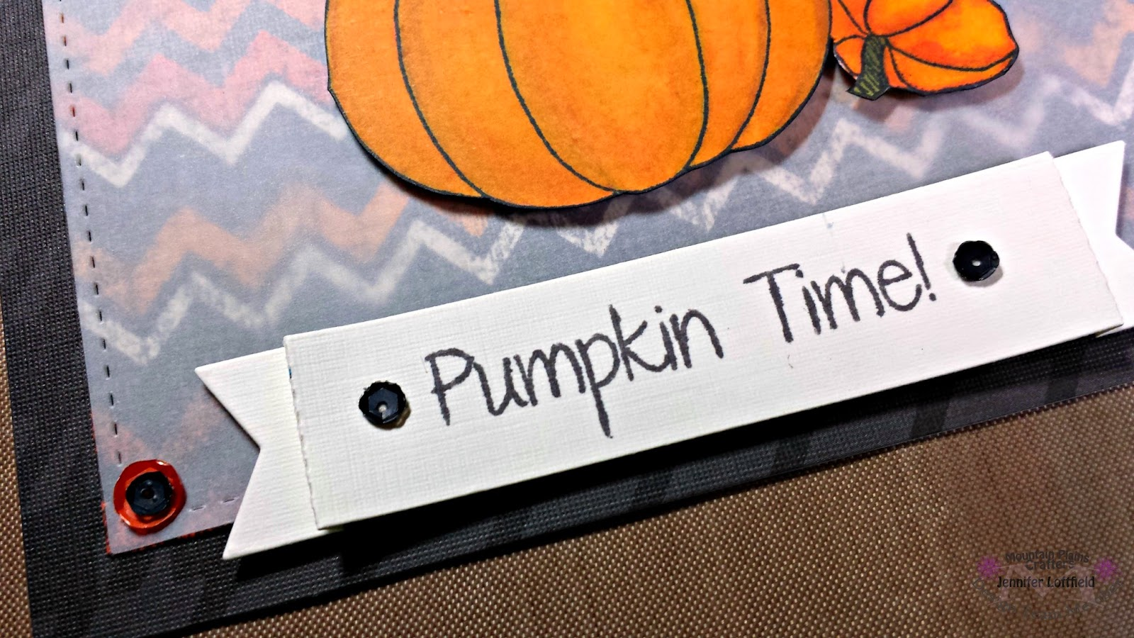 close up of pumpkin time banner