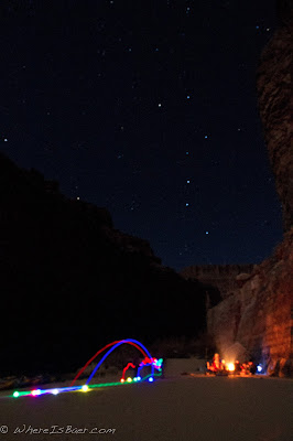 Bocce!, night time light up bocce in the Grand canyon of the COlorado with stars, Chris Baer