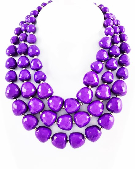 chunky purple beaded necklace