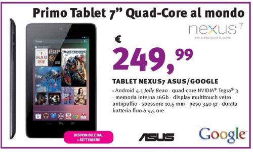 In anteprima la data di vendita e il prezzo in Italia del Google Nexus 7