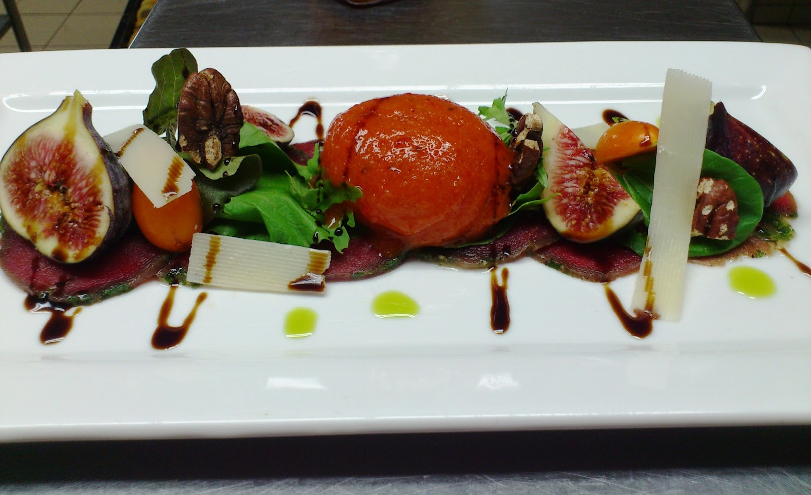 Beef Carpaccio with Roasted Red Pepper Sorbet, Fresh Figs, Pecan Nuts ...