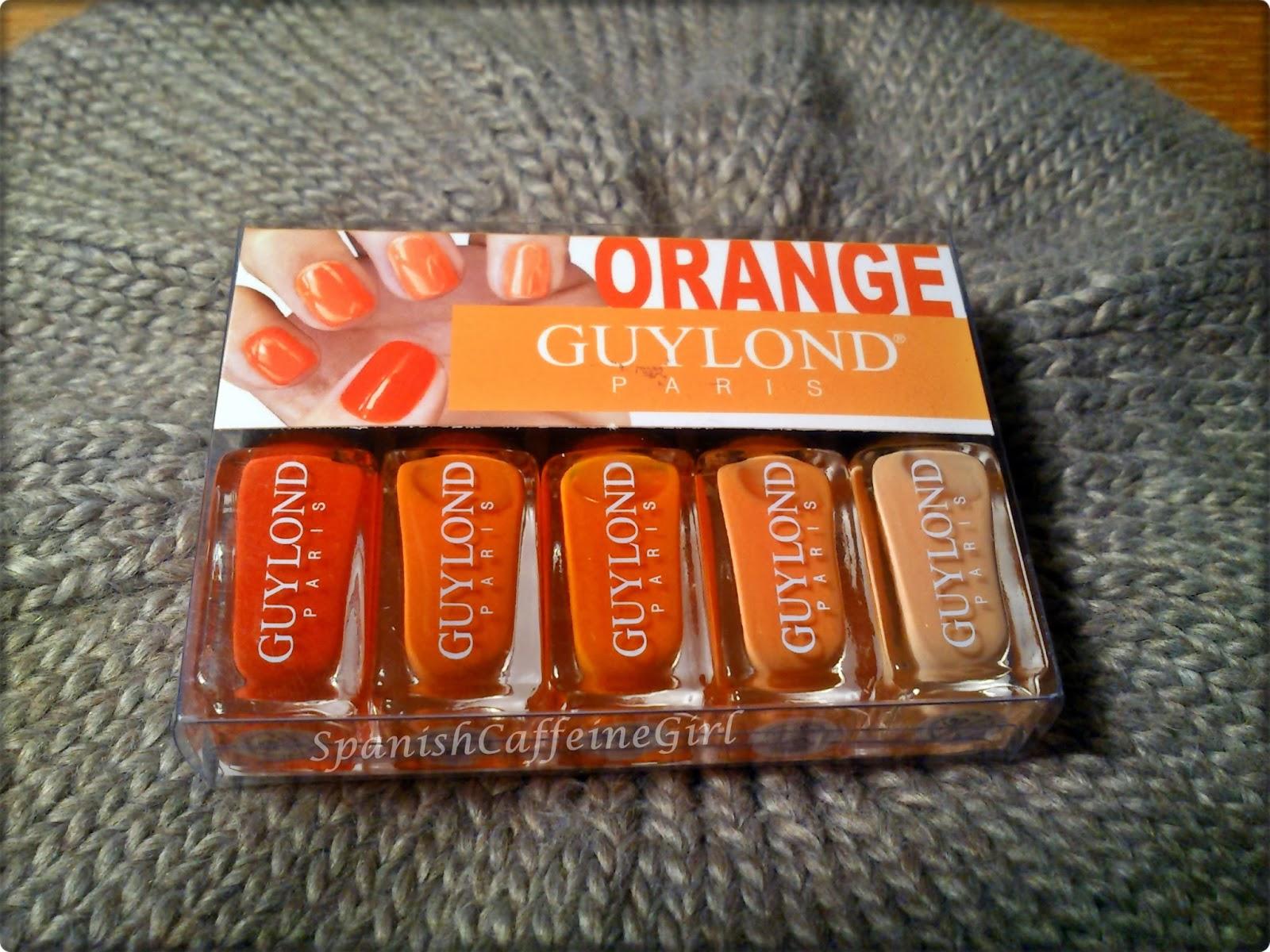 paquete de 5 esmaltes de uñas en tonos naranjas