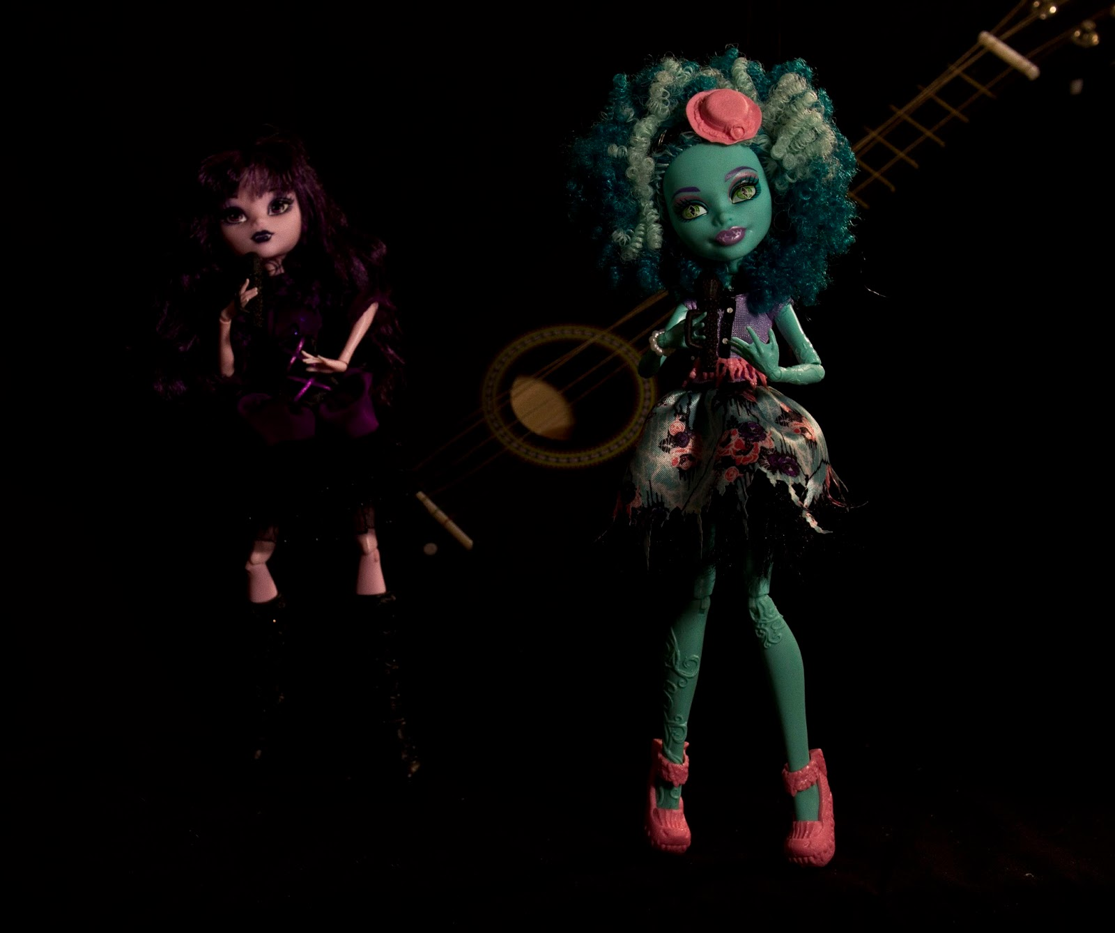 dolls in photography studio posing in a live concert