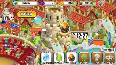 imagen de la torrre nidal y de huevos de dragones especiales de dragon city app