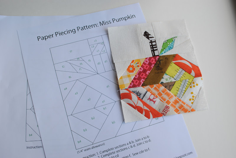 14 Mark Paper Piecing Pattern Miss Pumpkin
