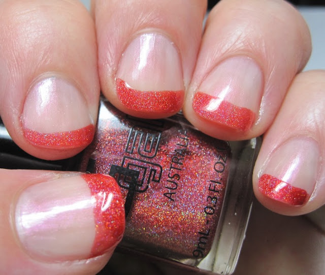 French tips with Glitter Gal Red 3D/Holo