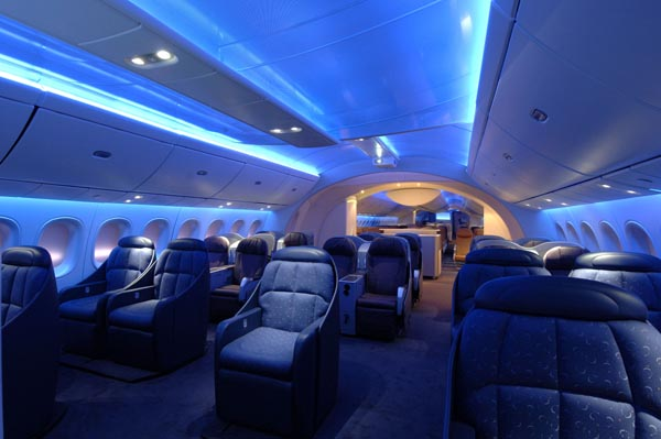 The inside of an aeroplane