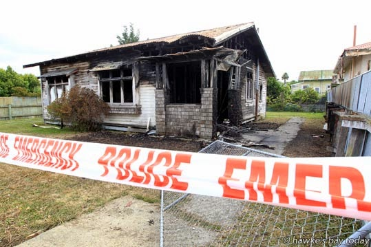 Suspicious house fire in Miller St, Hastings. photograph