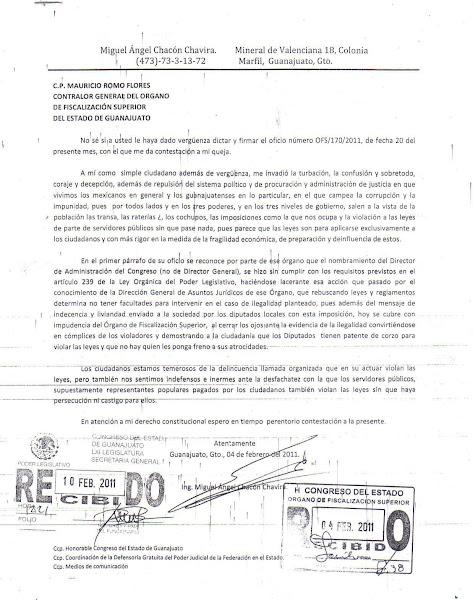 Carta a Mauricio Romo Flores Contralor General del Órgano de Fiscalización Superior del Estado de G