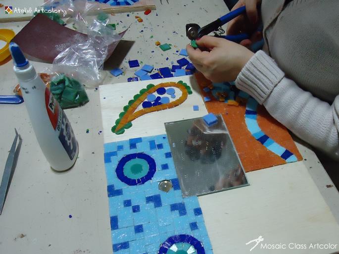Curso Artesanato Sorocaba ~ Mosaicos Joe& Romio Oficina de Férias Espelho Patch