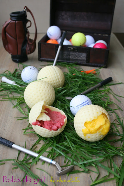 bolas de golf .chocolate