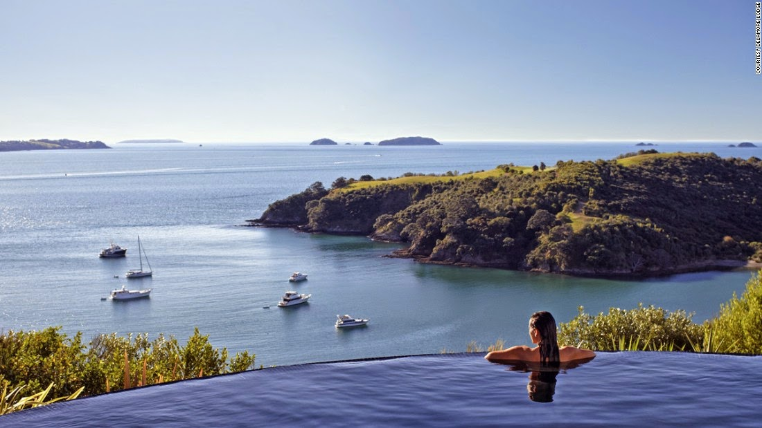 Waiheke's Delamore Lodge offers stunning views over Owhaneke Bay. Auckland may be on the horizon, but laid back Waiheke feels miles away from New Zealand's biggest city with its secluded bush walks, sheltered beaches and emerald, boat-bobbing bays.