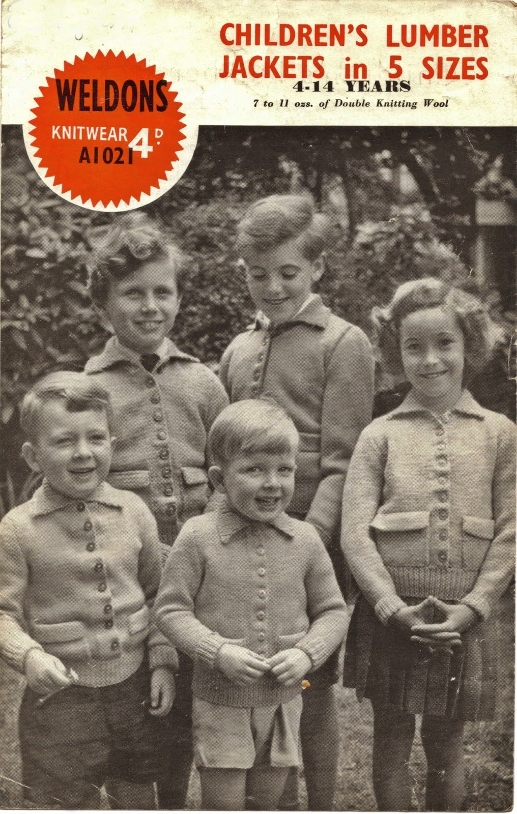 1940s knitting pattern for childrens jackets