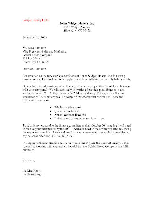 Just Story INQUIRY LETTER – Sample of Inquiry Letter in Business