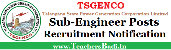 TSGENCO,Sub-Engineer Posts,Notification