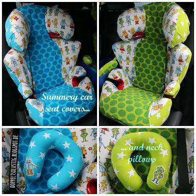 Summery car seat covers and neck pillows