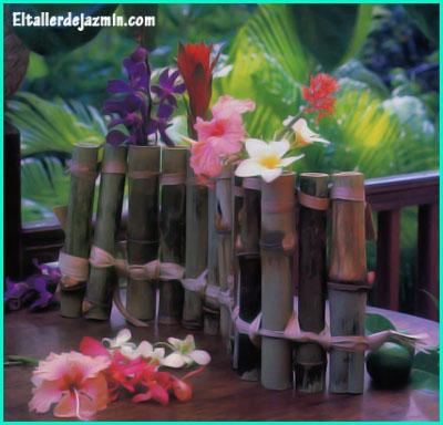 floreros tubo con cañas de bambú-eltallerdejazmin