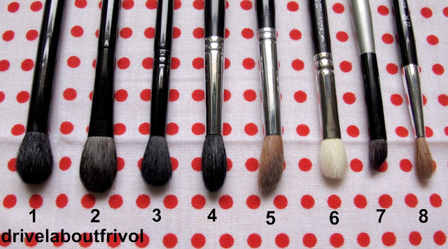 brush comparison Edward Bess Luxury Eye Brush, Suqqu Eyeshadow L, Illamasqua Blending Brush 1, Stila 9, Shu Uemrau 8HR, 4R, MAC 217, Paula Dorf Eye Contour Brush