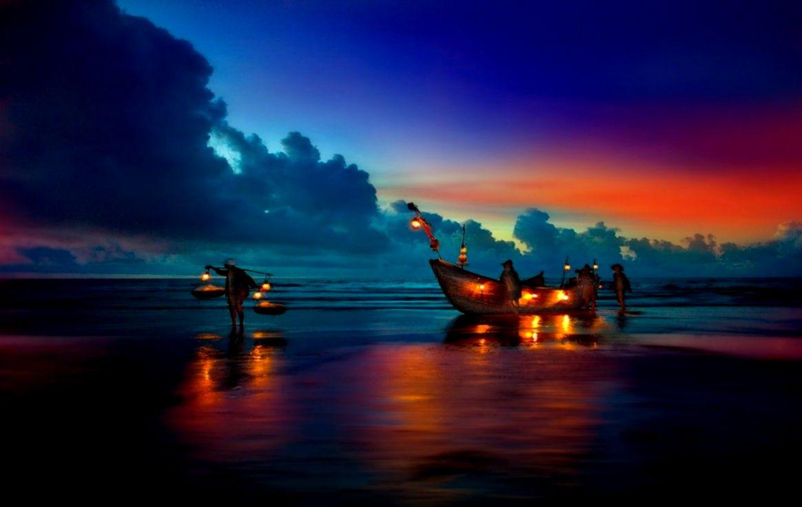 boat sunset evening beach wallpaper hd | high definitions wallpapers