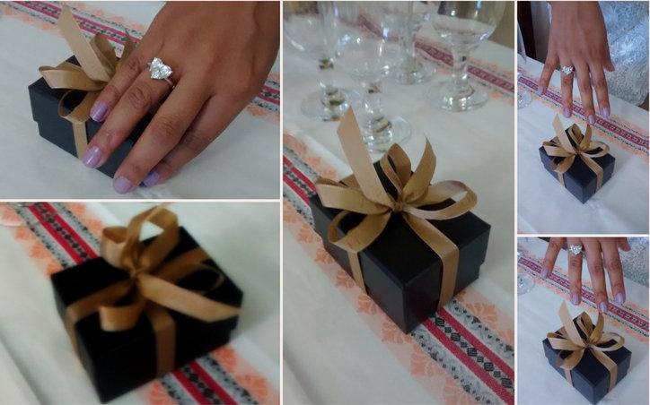 noivos, presentes, noivado, jantar, festa, alianças, anel de noivado
