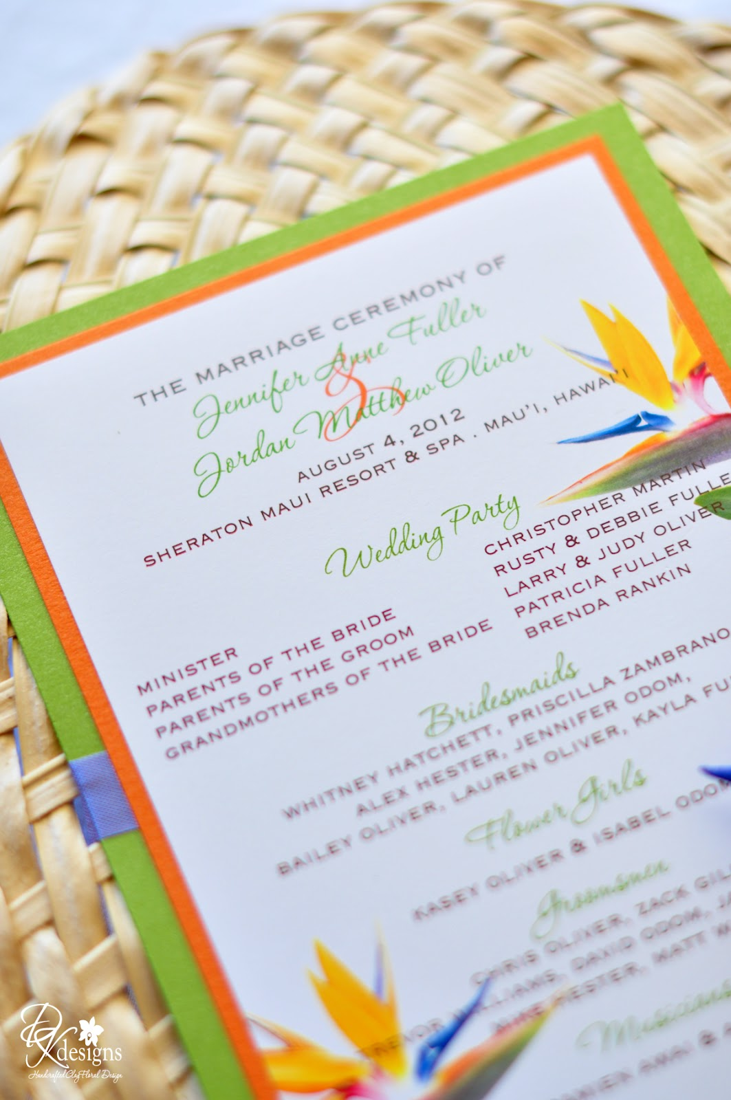 Bird of Paradise Themed Wedding - DK Designs
