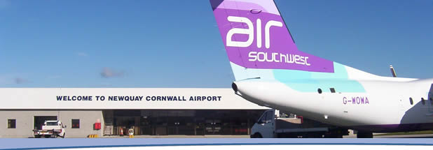 An Air South West plane at Newquay Cornwall Airport (Photo: cornwall-calling.co.uk)