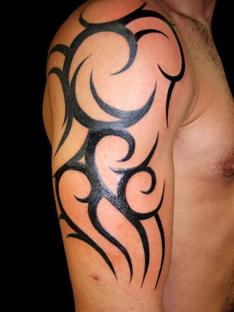 Men Shoulder Tribal Tattoo