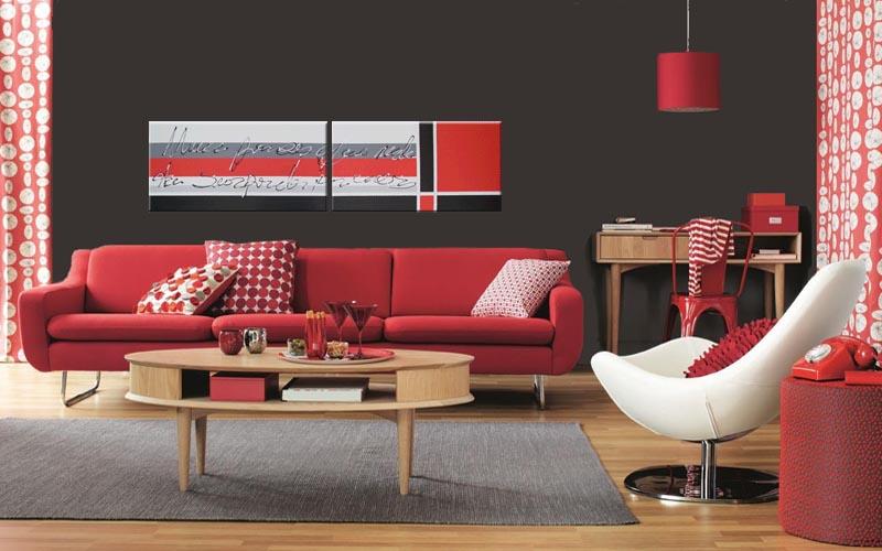 Bienestar y hogar salones con tonos rojos - Decoracion paredes salones modernos ...