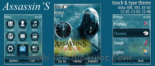 this is assassins theme for nokia asha 300 asha 303 x3 02 c2 06 and