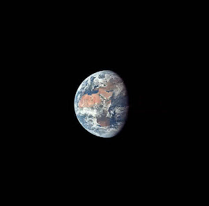 EARTH FROM THE MOON-BOUND APOLLO 11