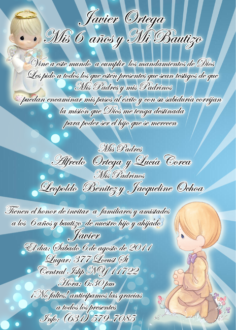 Invitaciones De Bautizo Y Cumple Anos
