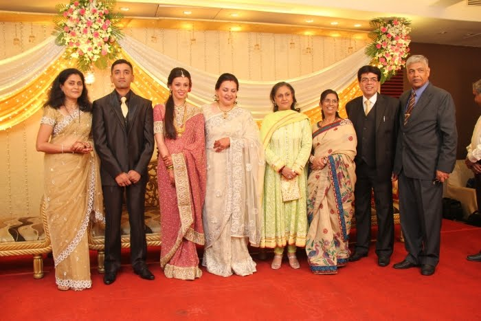 Jaya Bachchan with the family members of the newly wed