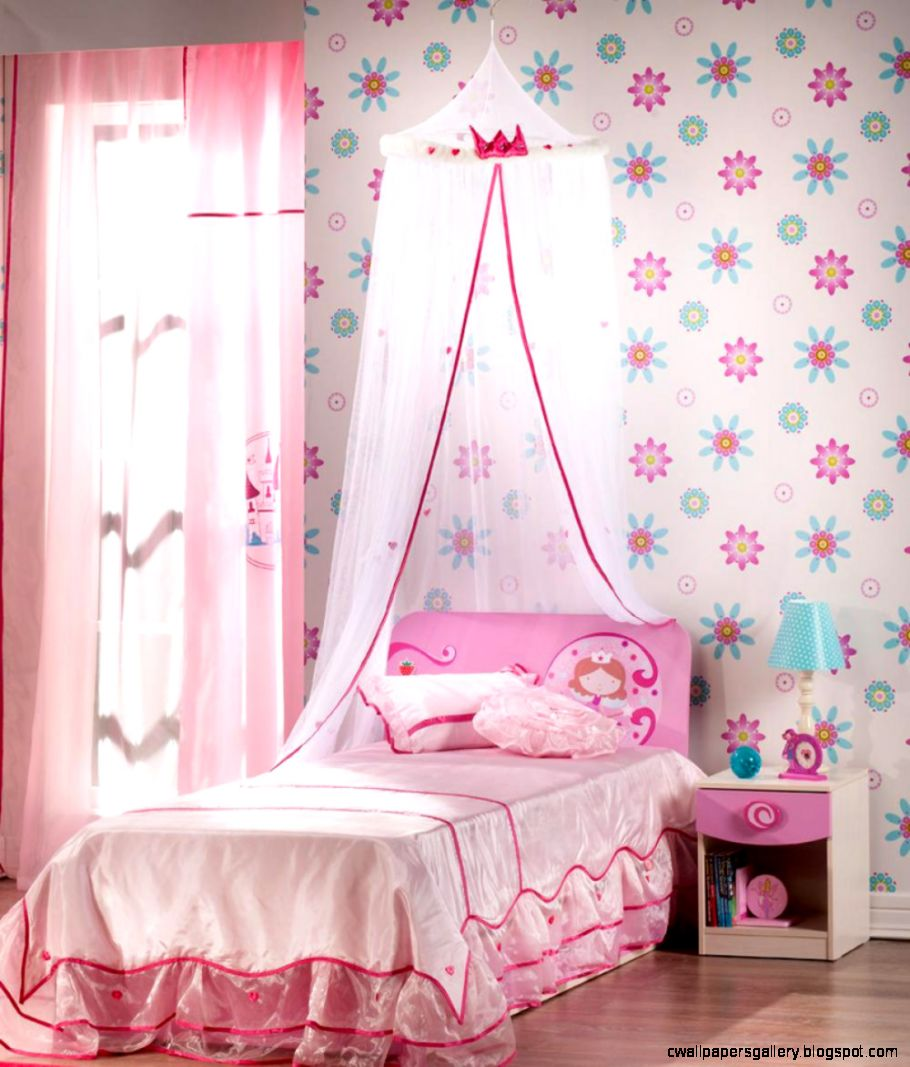 Little Girls Bedroom Ideas Pink With Canopy And Flower Wallpaper