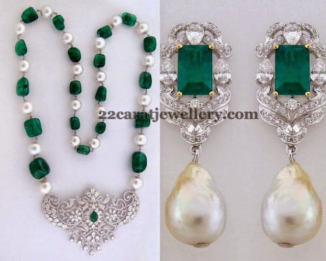 Emerald Beads Set with Hangings